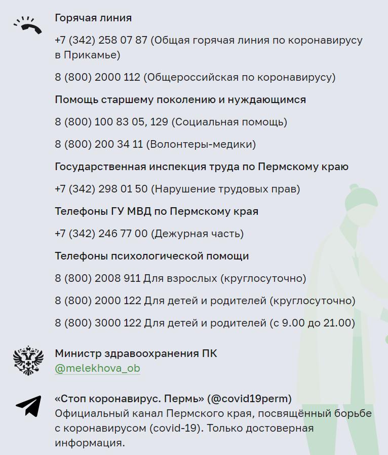 Контакты по коронавирусу в Пермском крае